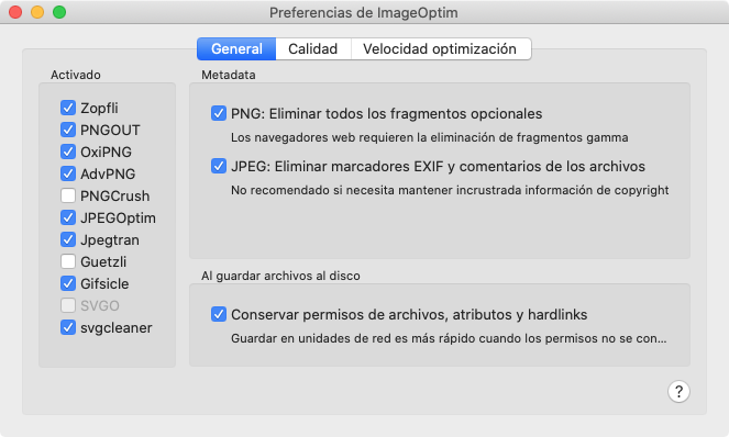 Preferencias de ImageOptim, General